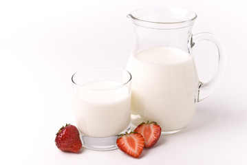 Milk and strawberries