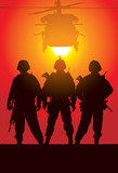 Vector silhouette of tree soldiers with helicopter
