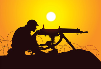 Vector silhouette of a british soldier with a machine gun
