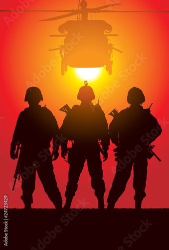 Aluminium Militair Vector silhouette of tree soldiers with helicopter