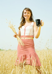 Girl  with quass and wheat