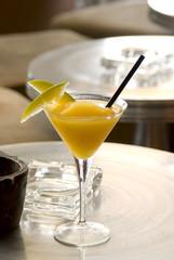 Mango Daiquiri with two slices of mango in martini-glass