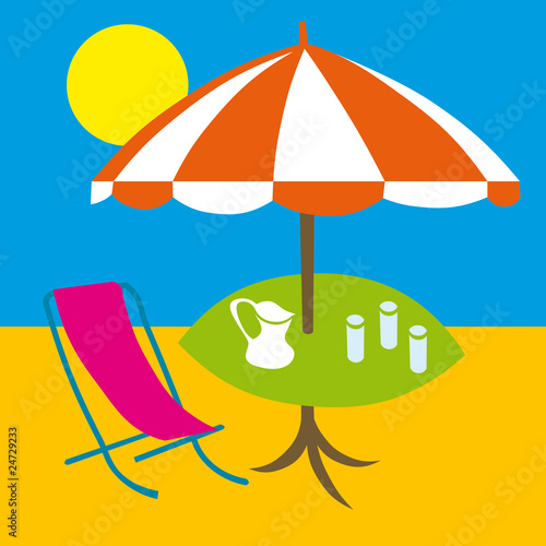 summer, beach and sea background - vector illustration