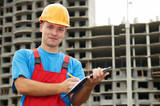 Builder satisfied inspector at construction area poster