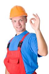 positive builder worker with okay hand gesture