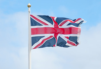 union jack flying in the wind
