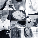 A desaturated collage of business images with young adults poster