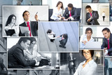 A collage of business images with young adults poster