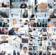 A collage of business images with different people
