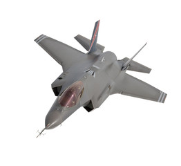 isolated modern jet fighter f-35 (with clipping path)
