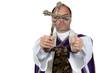 Katholischer Priester mit Handschellen. Missbrauch.