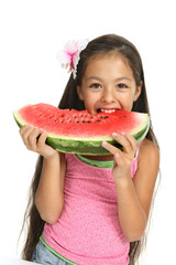 Summer dinner! Little Asian girl enjoing a water-melon