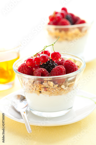 yogurt ,muesli ,berries and honey