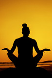Seated yoga pose silhouette