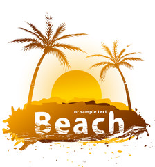 Sunset on a beach vector