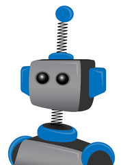 Blue Springy Robot with one antenna