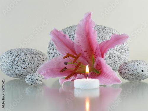 kerze lilie runde steine von bernd s lizenzfreies foto 24741022 auf. Black Bedroom Furniture Sets. Home Design Ideas