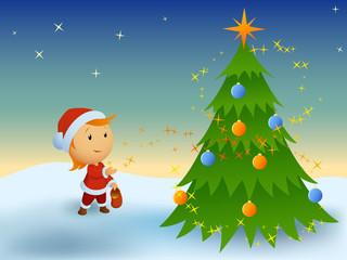 Little boy and magic christmas