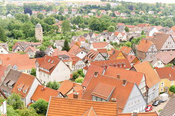 Dachlandschaft einer mittelalterlichen Stadt