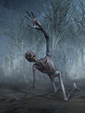 Shrieking Zombie in a Graveyard -  3D render