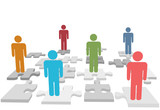 Human resources people stand on jigsaw puzzle pieces poster