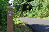 Mile marker on biking and jogging path