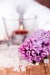 lilac, bath salt and candle