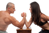 Man and woman arm wrestling poster