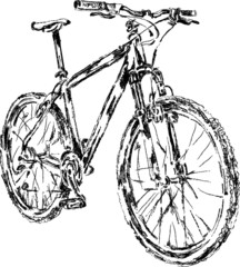 sketch of mountain bike, vector