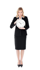 Distressed businesswoman holding a clock