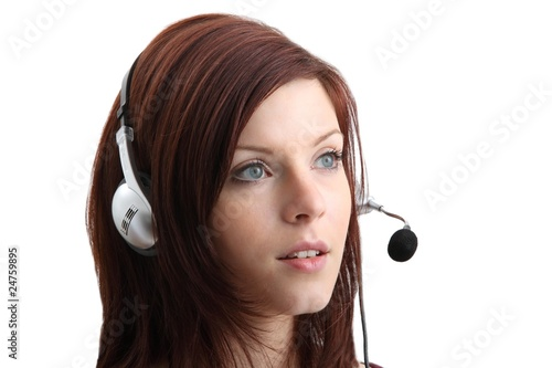 young woman with headset (white background)