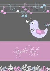 Gift card with bird and tunes, vector