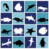 marine life set poster