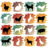 big set of farm animals poster