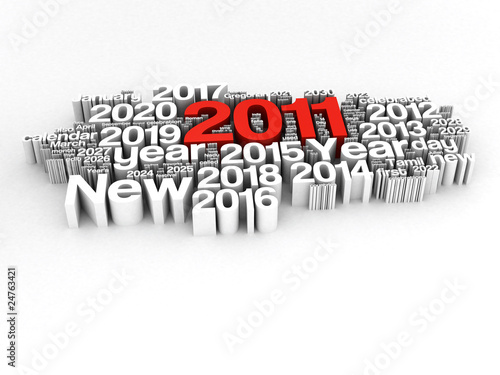 New Year 2011 and 2012,2013,2014...on white background