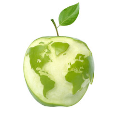 green apple with world map, isolated with clipping path