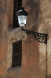 Street lamp on the wall of the Mudejar cathedral Teruel Spain