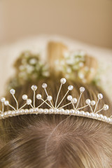 Close-up of tiara in bride's hair