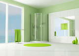 Fototapety green bathroom with cabin shower