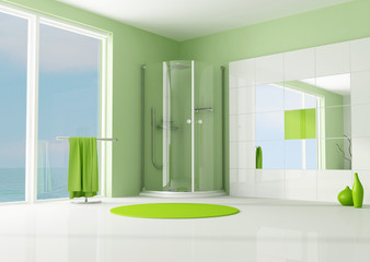 green bathroom with cabin shower