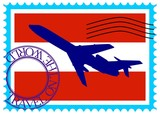"Stamp ""Austria (Vienna), travel by plane on the world"" vector"