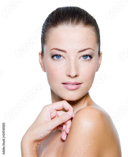 Face of a sexy beautiful  woman with fresh health skin