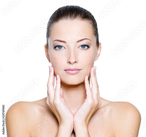 Face of a sexy beautiful young woman with clean skin