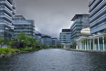 modern office building before typhoon