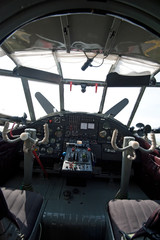 controls and equipment in cockpit of airplane