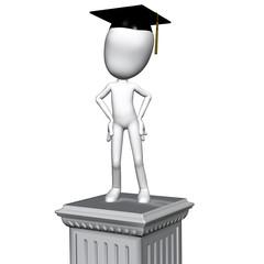 Graduation Graduate Standing on Pedestal