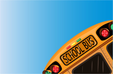 School bus over blue sky