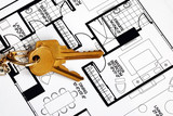 Keys on a floorplan concepts of real estate ownership poster