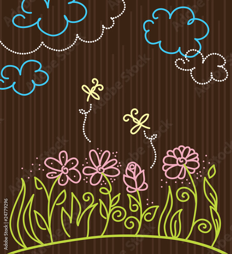 flowers cartoon background. Cartoon background with flowers