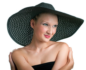 smiling women in black hat
